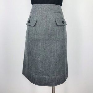 Les Copains 10 Grey Wool A Line Knee Pockets Skirt